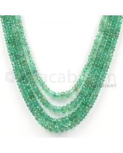 4 Lines - Medium Green Emerald Faceted Beads - 143.65 cts - 2.5 to 5.4 mm (EMFB1035)