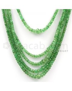 6 Lines - Green Tsavorite Faceted Beads - 291 cts - 2.1 to 6.4 mm (TSAV1001)