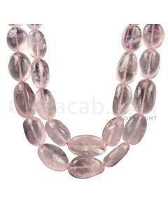 2 Lines - Light Pink Rose Quartz Tumbled Beads - 849.5 cts - 11.6 x 8.6 mm to 22.3 x 14.3 mm (ROSE1001)