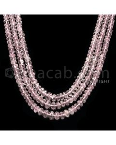 3 Lines - Light Pink Tourmaline Faceted Beads - 174.1 cts - 3 to 6 mm (TOFB1017)