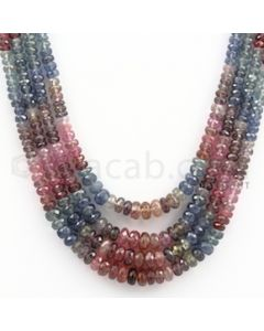 2.80 to 6.00 mm - Multi Sapphire Faceted Beads - 265.00 carats - 14 to 17 inches (MSFBnE1023)