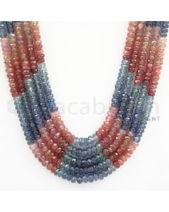 3.00 to 5.00 mm - Multi Sapphire Faceted Beads - 470.00 carats - 18 to 20.5 inches (MSFBnE1024)