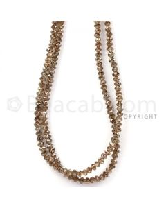 2 Lines - Champagne Diamond Faceted Beads - 75.85 cts - 3.5 mm (BRNDIA1040)