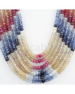 4.00 to 4.50 mm - Multi Sapphire Faceted Beads - 755.20 carats - 19 to 22 inches (MSFBnE1025)