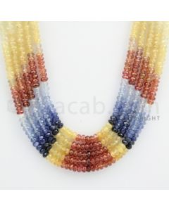 4.00 mm - Multi Sapphire Faceted Beads - 420.61 carats - 18 to 20 inches (MSFBnE1026)