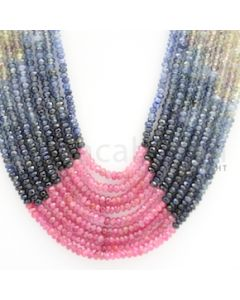 3.00 mm - Multi Sapphire Faceted Beads - 458.52 carats - 18 to 21 inches (MSFBnE1027)