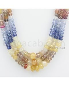 5.00 to 8.00 mm - Multi Sapphire Faceted Beads - 482.00 carats - 18 to 20 inches (MSFBnE1028)