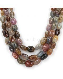 3 Lines - Dark Tones Multi-Sapphire Tumbled Beads - 655.06 - 8.5 x 6.1 mm to 13.7 x 10 mm (MSTUB1064)