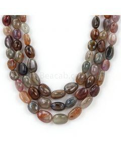 3 Lines - Dark Tones Multi-Sapphire Tumbled Beads - 759.32 - 9.2 x 6.2 mm to 13.9 x 10.2 mm (MSTUB1063)