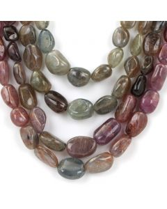 4 Lines - Dark Tones Multi-Sapphire Tumbled Beads - 1560 - 10.3 x 8.4 mm to 17.9 x 12.2 mm (MSTUB1062)
