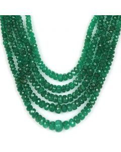 5 Lines - Dark Green Emerald Faceted Beads - 146 ct - 2.6 to 8.5 mm (EMFB1054)