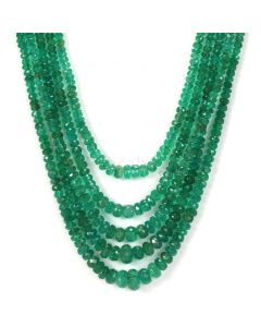 5 Lines - Dark Green Emerald Faceted Beads - 135.00 - 2. 3 to 7.2 mm (EMFB1046)