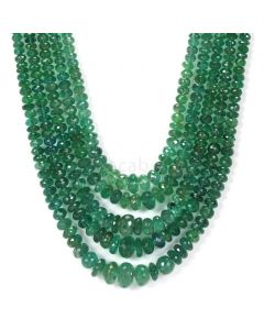 5 Lines - Dark Green Emerald Faceted Beads - 571.50 - 2.7 to 11.5 mm (EMFB1037)