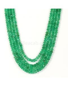 4 Lines - Medium Green Emerald Faceted Beads - 282.00 - 3.2 to 5.6 mm (EMFB1051)