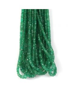 10 Lines - Medium Green Emerald Faceted Beads - 306.40 - 2.4 to 5.5 mm (EMFB1098)