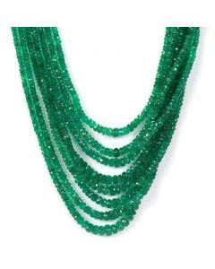 8 Lines - Dark Green Emerald Faceted Beads - 270.38 - 2.3 to 5.9 mm (EMFB1063)