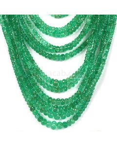18 Lines - Medium Green Emerald Faceted Beads - 1313.00 - 3.1 to 9.6 mm (EMFB1078)
