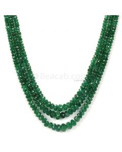 3 Lines - Dark Green Emerald Faceted Beads - 136.50 - 2.8 to 7.5 mm (EMFB1089)