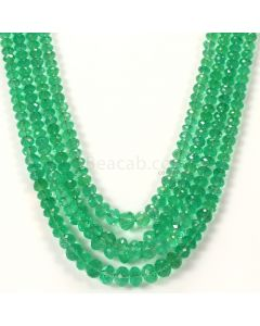 4 Lines - Medium Green Emerald Faceted Beads - 321.74 - 3.5 to 7 mm (EMFB1070)