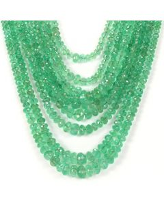 9 Lines - Light Green Emerald Faceted Beads - 582.00 - 3.2 to 8.7 mm (EMFB1082)