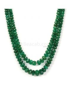 2 Lines - Dark Green Emerald Faceted Beads - 181.50 - 3.1 to 8.8 mm (EMFB1084)