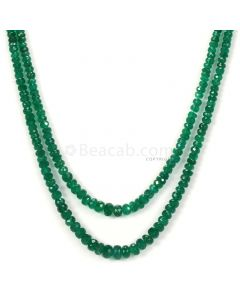 2 Lines - Dark Green Emerald Faceted Beads - 77.23 - 2.5 to 5.6 mm (EMFB1066)