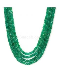 4 Lines - Medium Green Emerald Faceted Beads - 191.00 - 3 to 4.9 mm (EMFB1055)
