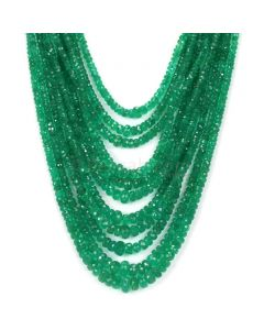 11 Lines - Medium Green Emerald Faceted Beads - 484.66 - 2.3 to 7.7 mm (EMFB1059)