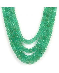 4 Lines - Medium Green Emerald Faceted Beads - 419.00 - 4.3 to 8.6 mm (EMFB1038)