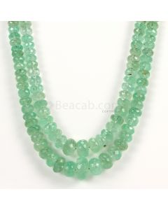 2 Lines - Light Green Emerald Faceted Beads - 352.10 - 5.2 to 14 mm (EMFB1049)