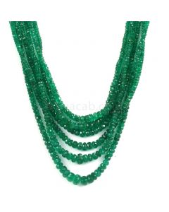 Dark Green Emerald Faceted Beads - 6 Lines - 244.50 - 2.2 to 7.9 mm (EMFB1107)