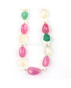 1 Line - Medium Tones Emerald, Sapphire, and Pink Tourmaline Tumbled Beads - 427.00 - 10 x 8 mm to 20.5 x 13.9 mm (FJ1010)