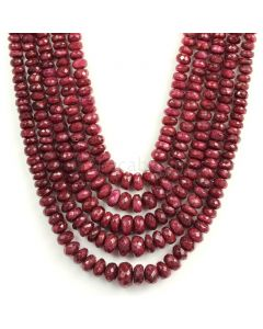 5 Lines - Faceted Dark Red Ruby Beads - 1241.50 - 4.5 to 12.1 mm (RFB1121)