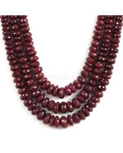 3 Lines - Faceted Dark Red Ruby Beads - 805.10 - 4.2 to 11 mm (RFB1120)