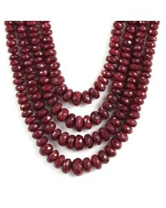 4 Lines - Faceted Medium Red Ruby Beads - 858 - 4.2 to 11.2 mm (RFB1118)