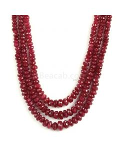 3 Lines - Medium Red Ruby Faceted Beads - 410 - 4.2 to 9.5 mm (RFB1143)