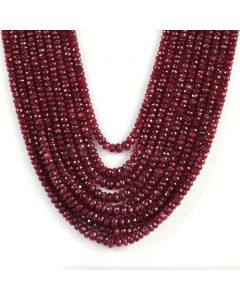 9 Lines - Dark Red Ruby Faceted Beads - 1019 - 4 to 6.5 mm (RFB1112)