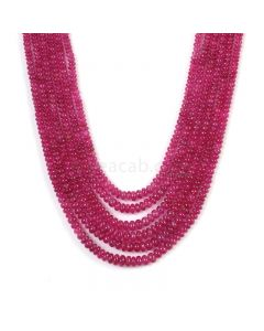 6 Lines - Medium Pink Pink Sapphire Plain Beads - 369.5 cts - 2.7 to 5.4 mm (PNSPB1039)