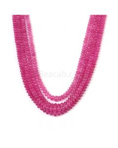 4 Lines - Medium Pink Pink Sapphire Plain Beads - 417.25 cts - 3.6 to 6.5 mm (PNSPB1036)