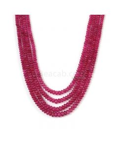 4 Lines - Dark Pink Pink Sapphire Plain Beads - 223.7 cts - 2.9 to 5.5 mm (PNSPB1033)