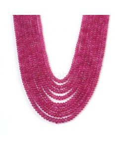 8 Lines - Medium Pink Pink Sapphire Plain Beads - 446.75 cts - 2.8 to 5.6 mm (PNSPB1032)