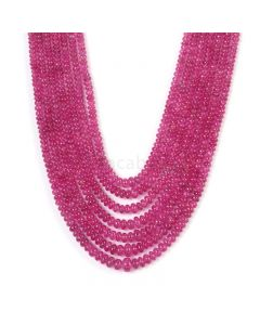 7 Lines - Medium Pink Pink Sapphire Plain Beads - 418.85 cts - 2.9 to 6.2 mm (PNSPB1031)
