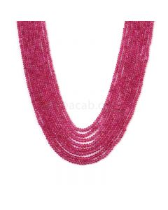 8 Lines - Medium Pink Pink Sapphire Plain Beads - 220.30 cts - 2 to 3 mm (PNSPB1027)