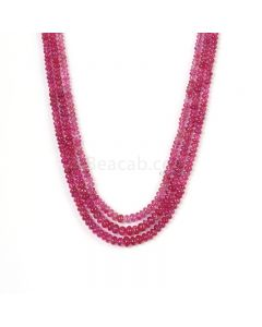 3 Lines - Medium Pink Pink Sapphire Plain Beads - 286.48 cts - 3.2 to 6.7 mm (PNSPB1029)