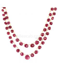 2 Lines - Medium Red Ruby Faceted Drops - 79.25 cts - 4.9 x 4.7 mm to 9.4 x 10 mm (RDR1046)