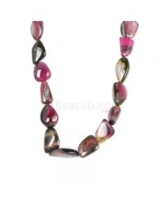 1 Line - Watermelon (Bi-Color) Multi-Tourmaline Tumbled Beads - 443.00 cts - 12.5 x 19.6 mm to 15 x 24.5 mm (MTOUR1026)
