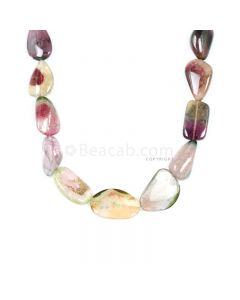 1 Line - Watermelon (Bi-Color) Multi-Tourmaline Tumbled Beads - 285 cts - 11.9 x 20 mm to 16.1 x 24.5 mm (MTOUR1024)