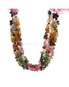 4 Lines - Medium Tones Multi-Tourmaline Faceted Drops - 230.00 cts - 6 x 4 mm to 6.5 x 4.5 mm (MTFD1179)
