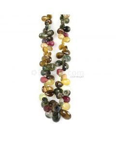 1 Line - Medium Tones Multi-Tourmaline Faceted Drops - 264.61 cts - 8 x 5 mm to 13.5 x 9.2 mm (MTFD1178)