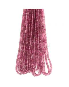 11 Lines - Medium Pink Tourmaline Faceted Beads - 371.66 cts - 3.2 to 3.5 mm (TOFB1020)